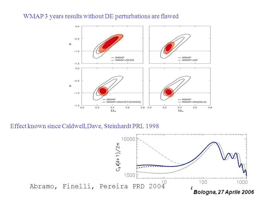 Bologna, 27 Aprile 2006 WMAP 3 years results without DE perturbations are flawed Effect known since Caldwell,Dave, Steinhardt PRL 1998 Abramo, Finelli, Pereira PRD 2004