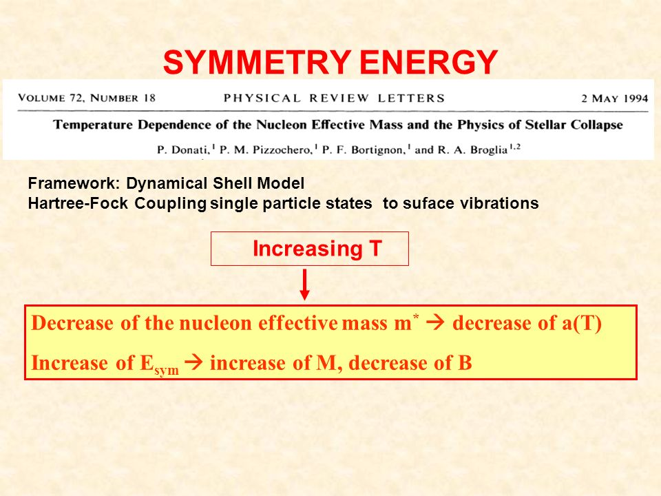 SYMMETRY ENERGY Decrease of the nucleon effective mass m * decrease of a(T) Increase of E sym increase of M, decrease of B Framework: Dynamical Shell Model Hartree-Fock Coupling single particle states to suface vibrations Increasing T