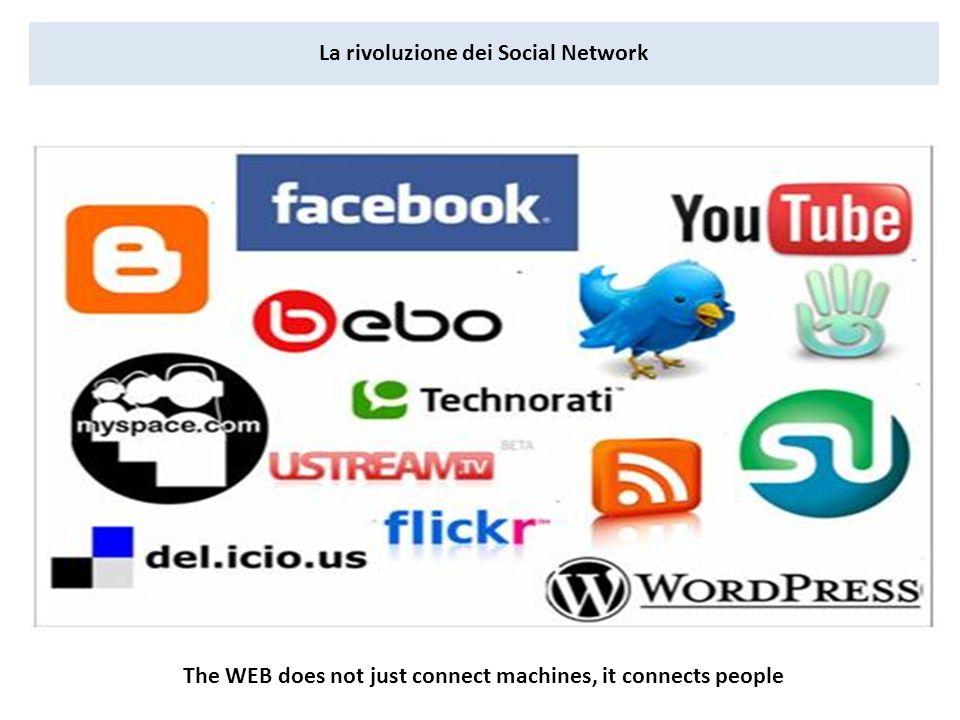 La rivoluzione dei Social Network The WEB does not just connect machines, it connects people