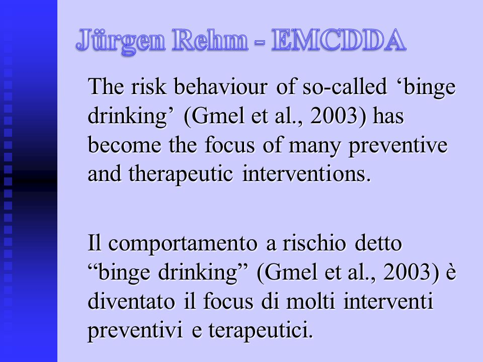 The risk behaviour of so-called binge drinking (Gmel et al., 2003) has become the focus of many preventive and therapeutic interventions.
