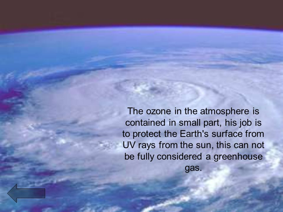 The ozone in the atmosphere is contained in small part, his job is to protect the Earth s surface from UV rays from the sun, this can not be fully considered a greenhouse gas.