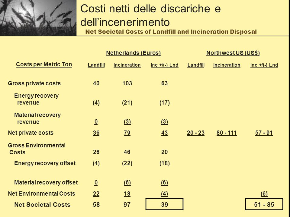 Net Societal Costs of Landfill and Incineration Disposal Netherlands (Euros)Northwest US (US$) Costs per Metric Ton LandfillIncinerationInc +/(-) LndLandfillIncinerationInc +/(-) Lnd Gross private costs Energy recovery revenue(4)(21)(17) Material recovery revenue0(3) Net private costs Gross Environmental Costs Energy recovery offset(4)(22)(18) Material recovery offset0(6) Net Environmental Costs2218(4)(6) Net Societal Costs Costi netti delle discariche e dellincenerimento
