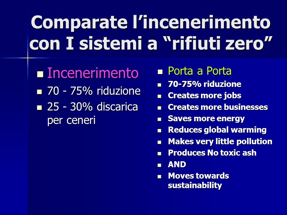 Comparate lincenerimento con I sistemi a rifiuti zero Incenerimento Incenerimento % riduzione % riduzione % discarica per ceneri % discarica per ceneri Porta a Porta Porta a Porta 70-75% riduzione 70-75% riduzione Creates more jobs Creates more jobs Creates more businesses Creates more businesses Saves more energy Saves more energy Reduces global warming Reduces global warming Makes very little pollution Makes very little pollution Produces No toxic ash Produces No toxic ash AND AND Moves towards sustainability Moves towards sustainability