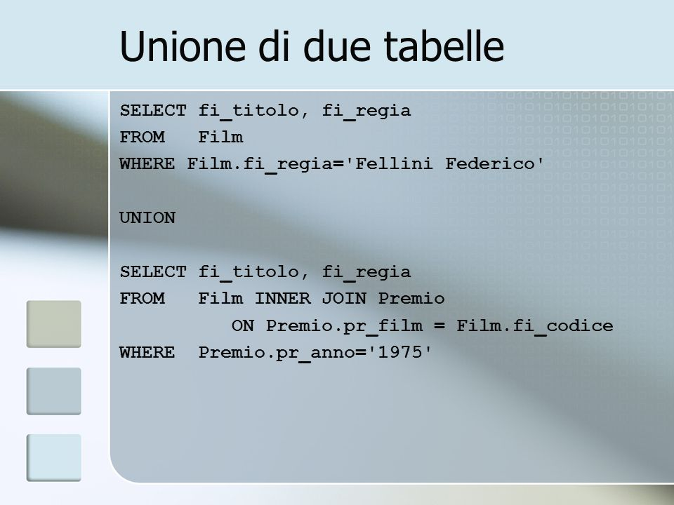 Unione di due tabelle SELECT fi_titolo, fi_regia FROM Film WHERE Film.fi_regia= Fellini Federico UNION SELECT fi_titolo, fi_regia FROM Film INNER JOIN Premio ON Premio.pr_film = Film.fi_codice WHERE Premio.pr_anno= 1975
