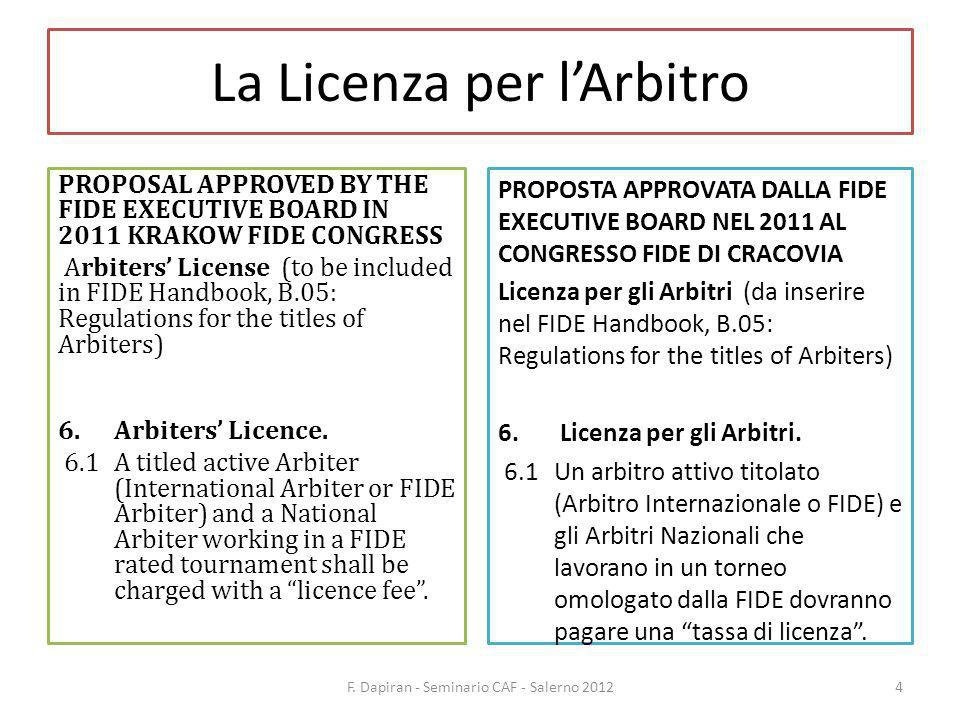 La Licenza per lArbitro PROPOSAL APPROVED BY THE FIDE EXECUTIVE BOARD IN 2011 KRAKOW FIDE CONGRESS Arbiters License (to be included in FIDE Handbook, B.05: Regulations for the titles of Arbiters) 6.Arbiters Licence.