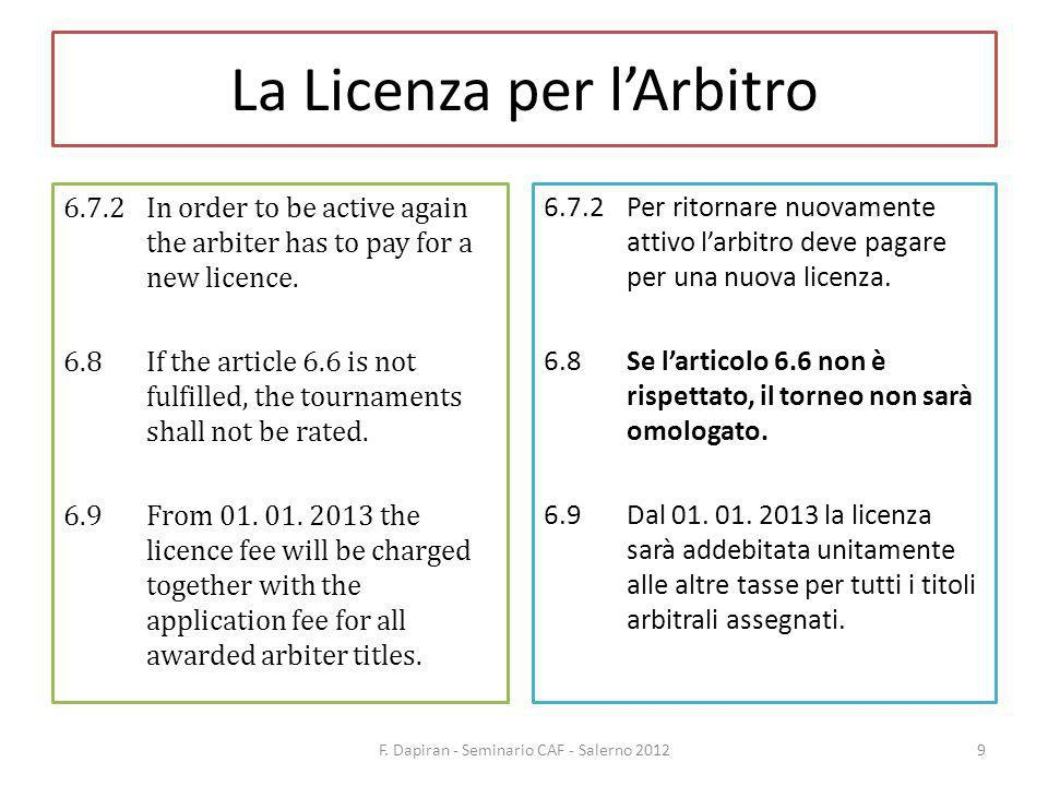 La Licenza per lArbitro 6.7.2In order to be active again the arbiter has to pay for a new licence.