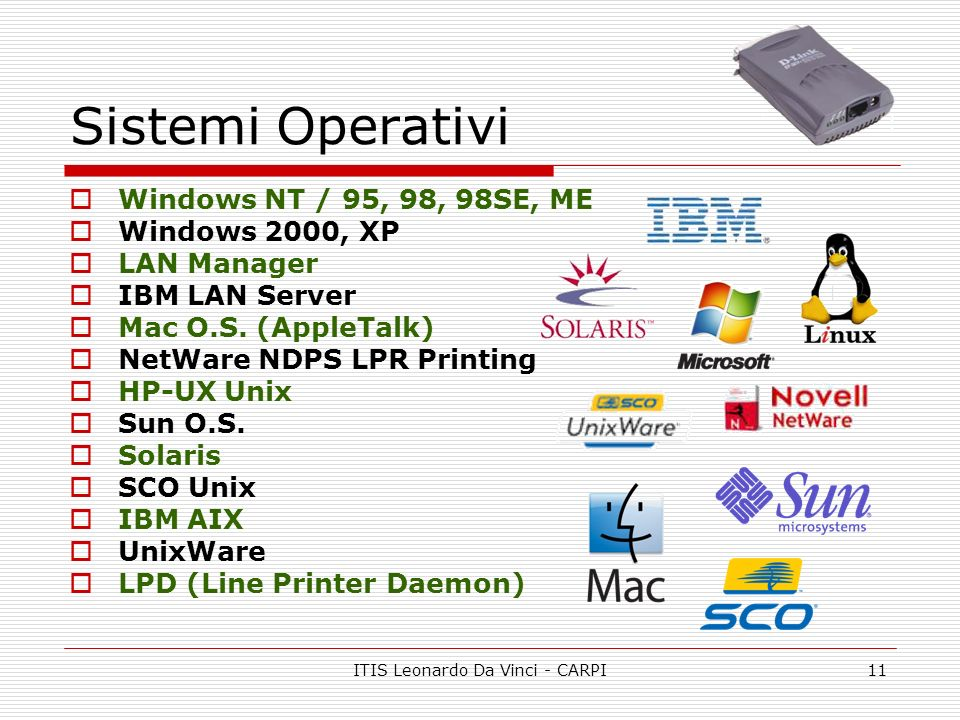 ITIS Leonardo Da Vinci - CARPI11 Sistemi Operativi Windows NT / 95, 98, 98SE, ME Windows 2000, XP LAN Manager IBM LAN Server Mac O.S.