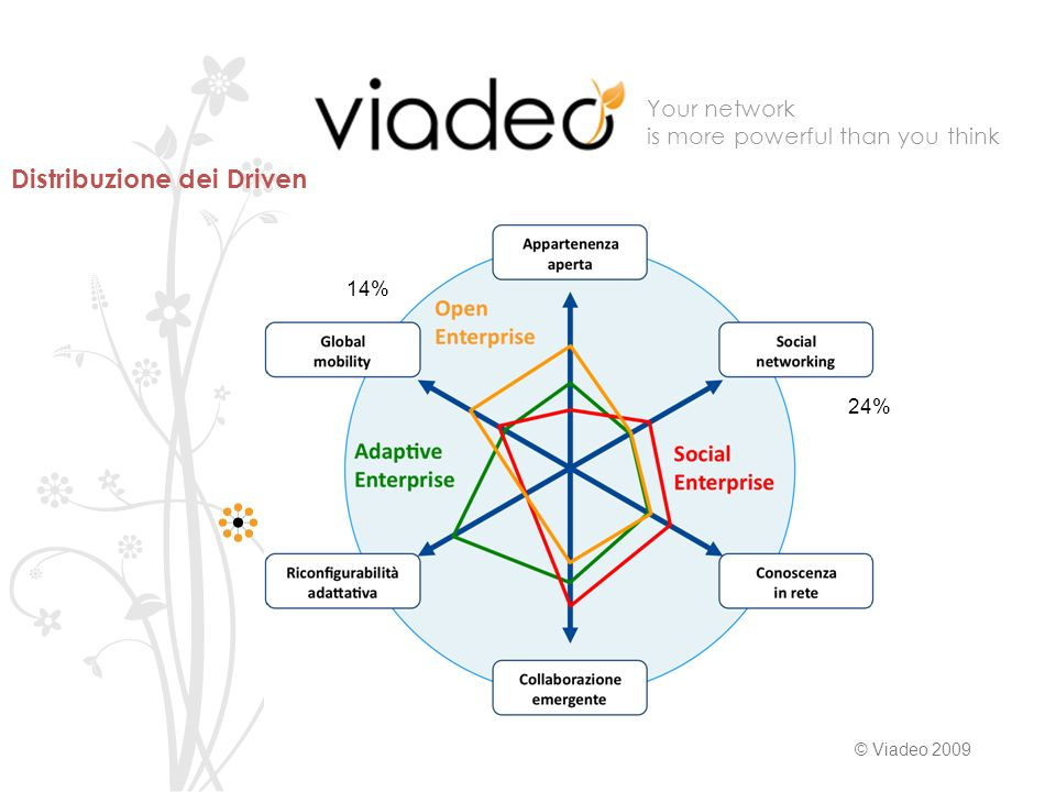 Your network is more powerful than you think © Viadeo % 24% Distribuzione dei Driven