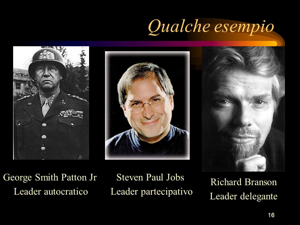 16 Qualche esempio George Smith Patton JrSteven Paul Jobs Richard Branson Leader autocraticoLeader partecipativo Leader delegante
