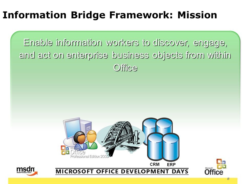 8 Information Bridge Framework: Mission Enable information workers to discover, engage, and act on enterprise business objects from within Office ERP CRM
