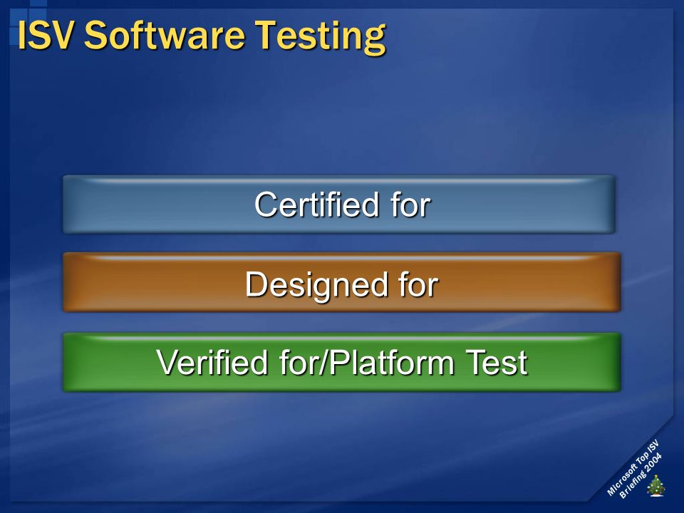 Microsoft Top ISV Briefing 2004 ISV Software Testing Certified for Designed for Verified for/Platform Test