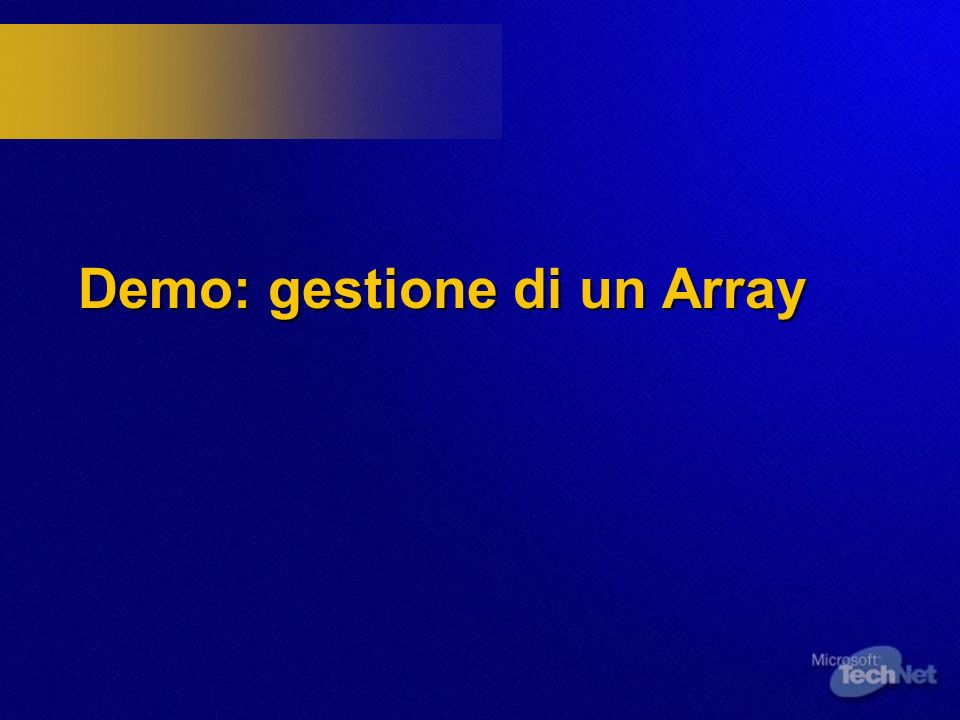 Demo: gestione di un Array