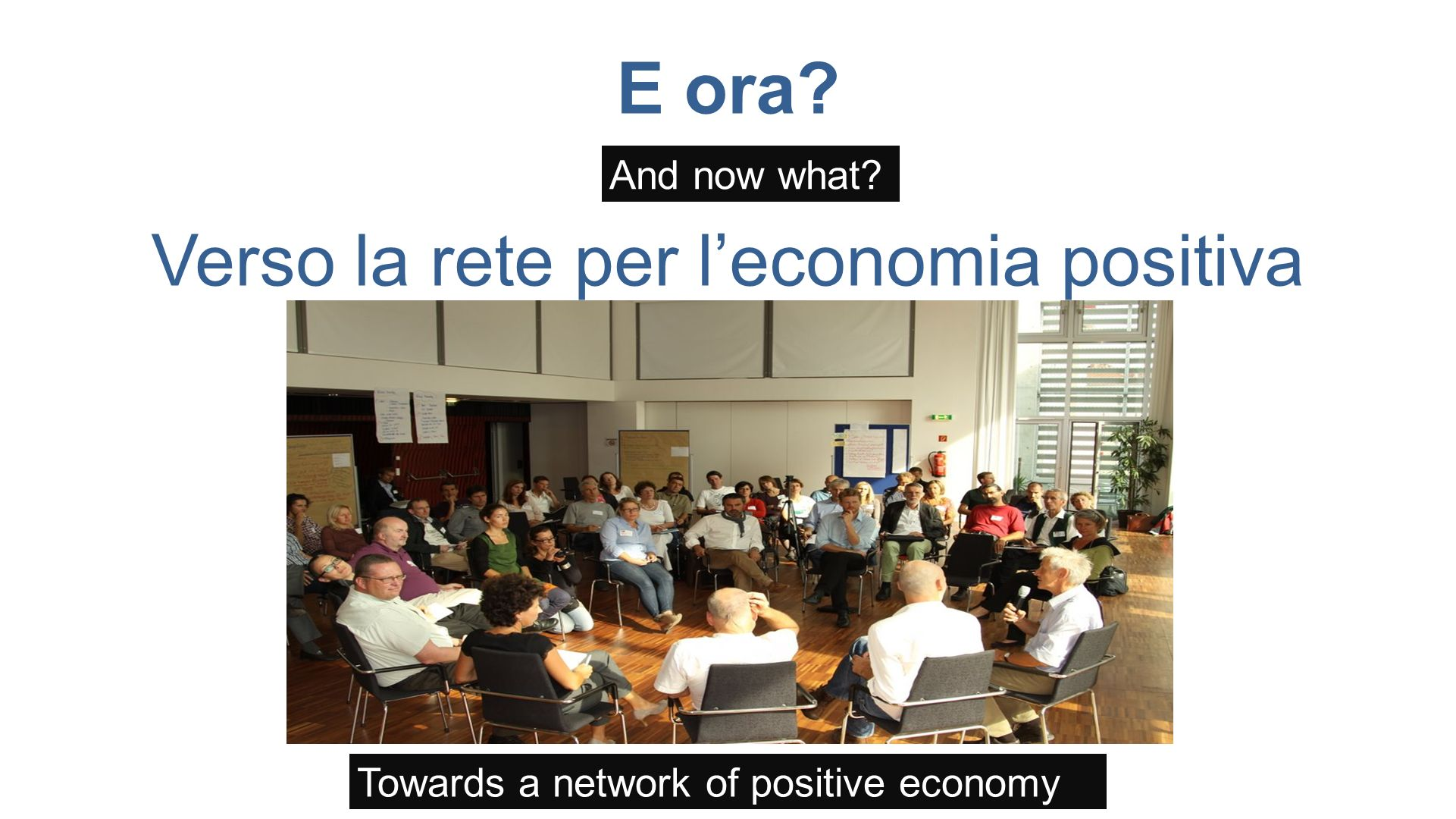 E ora Verso la rete per leconomia positiva And now what Towards a network of positive economy