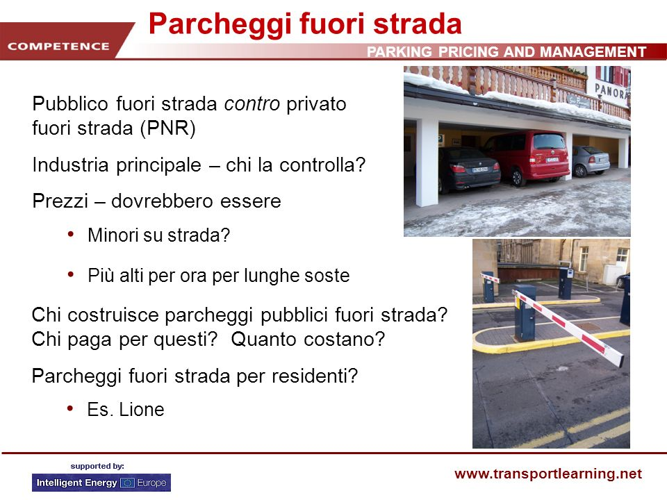 PARKING PRICING AND MANAGEMENT www.transportlearning.net Parcheggi fuori strada Chi costruisce parcheggi pubblici fuori strada.