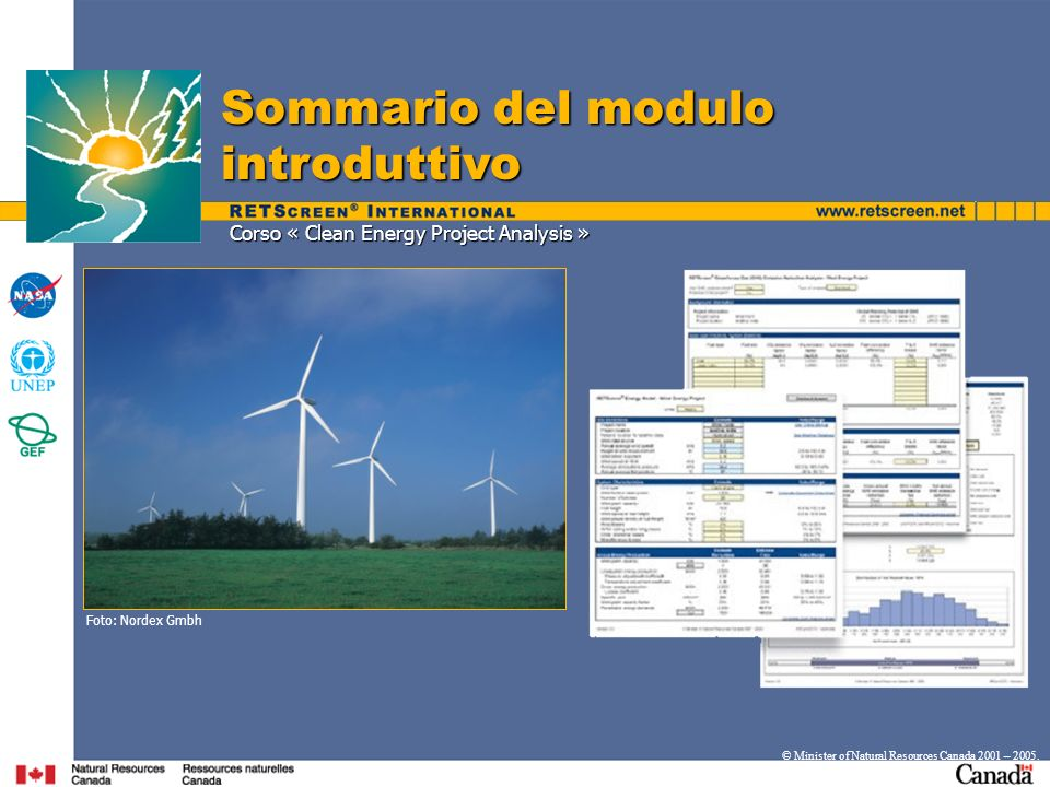 Corso « Clean Energy Project Analysis » Sommario del modulo introduttivo © Minister of Natural Resources Canada 2001 – 2005.
