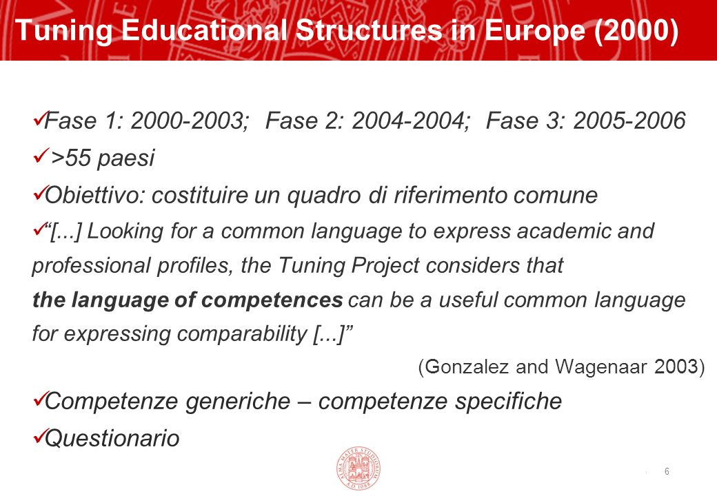 Copyright©2003 - Materiale riservato e strettamente confidenziale 6 Tuning Educational Structures in Europe (2000) Fase 1: 2000-2003; Fase 2: 2004-2004; Fase 3: 2005-2006 >55 paesi Obiettivo: costituire un quadro di riferimento comune [...] Looking for a common language to express academic and professional profiles, the Tuning Project considers that the language of competences can be a useful common language for expressing comparability [...] (Gonzalez and Wagenaar 2003) Competenze generiche – competenze specifiche Questionario