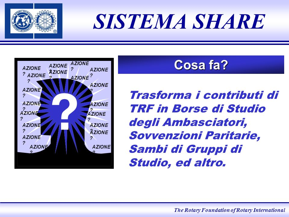 The Rotary Foundation of Rotary International SISTEMA SHARE Cosa fa.