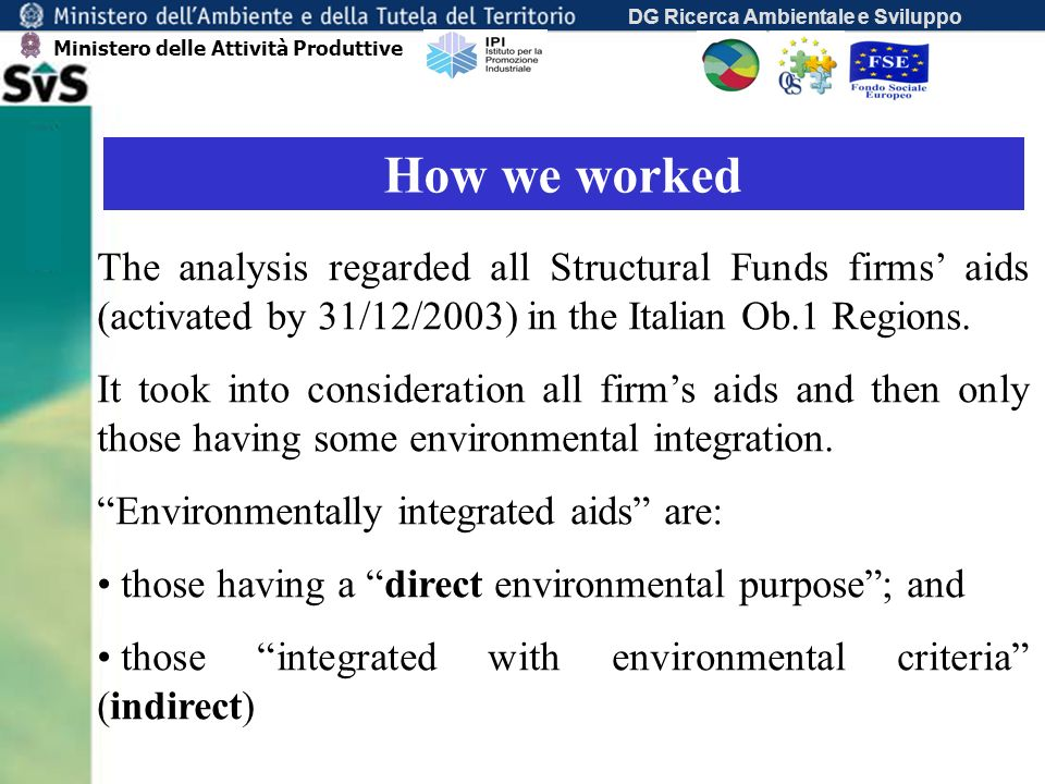 DG Ricerca Ambientale e Sviluppo How we worked The analysis regarded all Structural Funds firms aids (activated by 31/12/2003) in the Italian Ob.1 Regions.