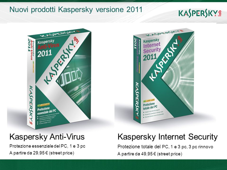 Click to edit Master title style Click to edit Master text styles –Second level Third level –Fourth level »Fifth level June 10 th, 2009Event details (title, place) Nuovi prodotti Kaspersky versione 2011 Kaspersky Anti-Virus Protezione essenziale del PC, 1 e 3 pc A partire da 29,95 (street price) Kaspersky Internet Security Protezione totale del PC, 1 e 3 pc, 3 pc rinnovo A partire da 49,95 (street price)