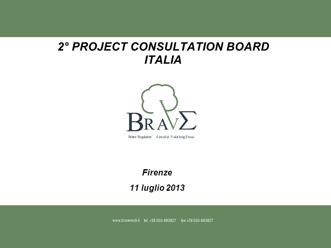 2° PROJECT CONSULTATION BOARD ITALIA Firenze 11 luglio 2013
