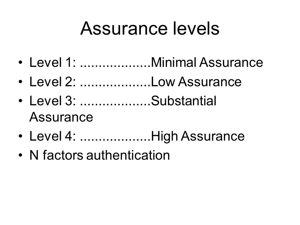 Assurance levels Level 1:...................Minimal Assurance Level 2:...................Low Assurance Level 3:...................Substantial Assurance Level 4:...................High Assurance N factors authentication