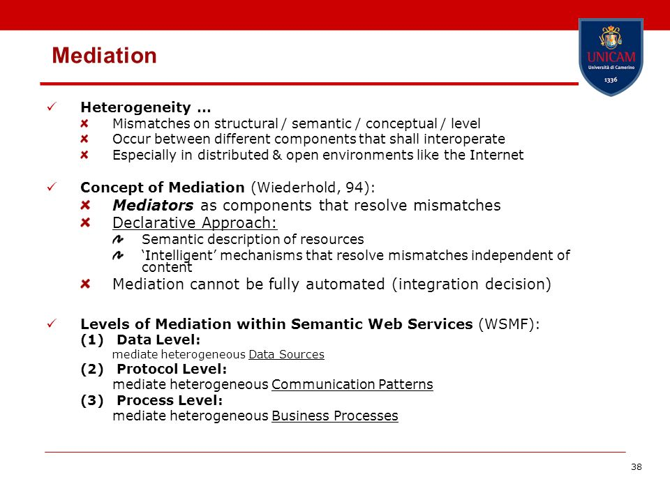 38 Mediation Heterogeneity … Mismatches on structural / semantic / conceptual / level Occur between different components that shall interoperate Especially in distributed & open environments like the Internet Concept of Mediation (Wiederhold, 94): Mediators as components that resolve mismatches Declarative Approach: Semantic description of resources Intelligent mechanisms that resolve mismatches independent of content Mediation cannot be fully automated (integration decision) Levels of Mediation within Semantic Web Services (WSMF): (1) Data Level: mediate heterogeneous Data Sources (2) Protocol Level: mediate heterogeneous Communication Patterns (3) Process Level: mediate heterogeneous Business Processes