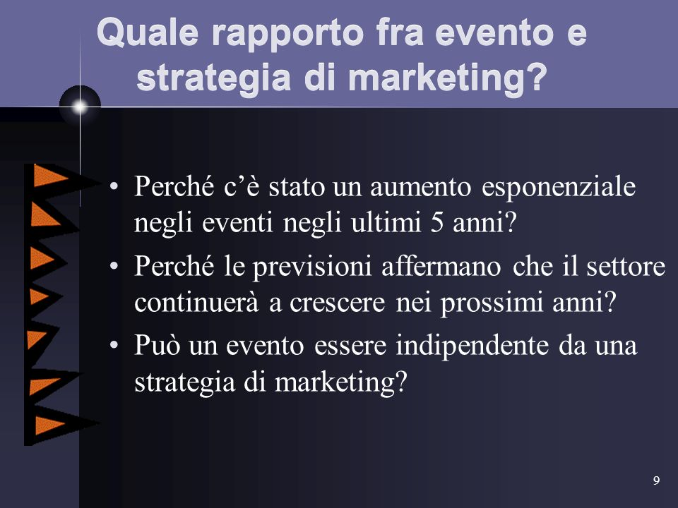9 Quale rapporto fra evento e strategia di marketing.