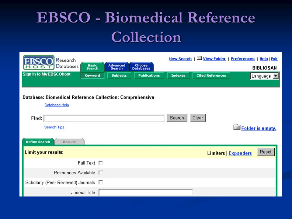 EBSCO - Biomedical Reference Collection