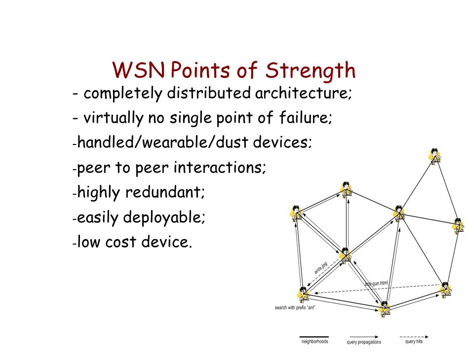 A Wireless Sensor Networks (WSN) is a collection of sensors not relying on a fixed infrastructure to keep the network connected; A WSN can be formed, merged or partitioned on the fly; Sensors can be Mobile.