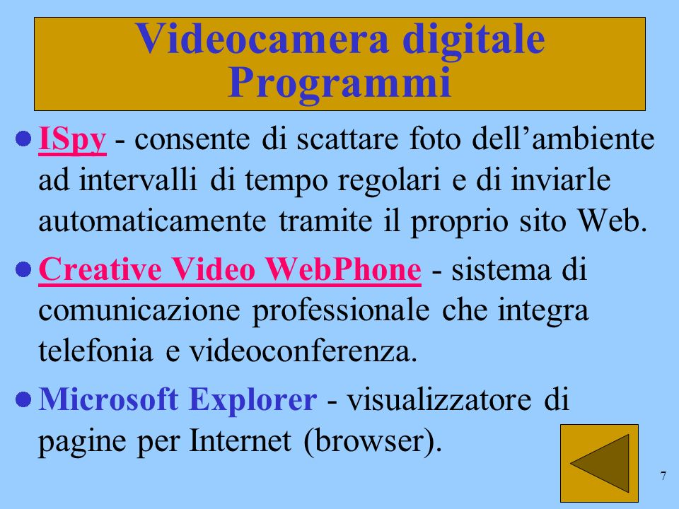 6 Videocamera digitale Programmi Il software fornito con la VideoCamera Video Blaster WebCam II USB è il seguente: Polaroid PhotoMAX - cattura le immagini e consente di modificarle, ritoccarle ed aggiungervi effetti speciali.