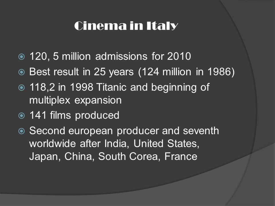Cinema in Italy 120, 5 million admissions for 2010 Best result in 25 years (124 million in 1986) 118,2 in 1998 Titanic and beginning of multiplex expansion 141 films produced Second european producer and seventh worldwide after India, United States, Japan, China, South Corea, France