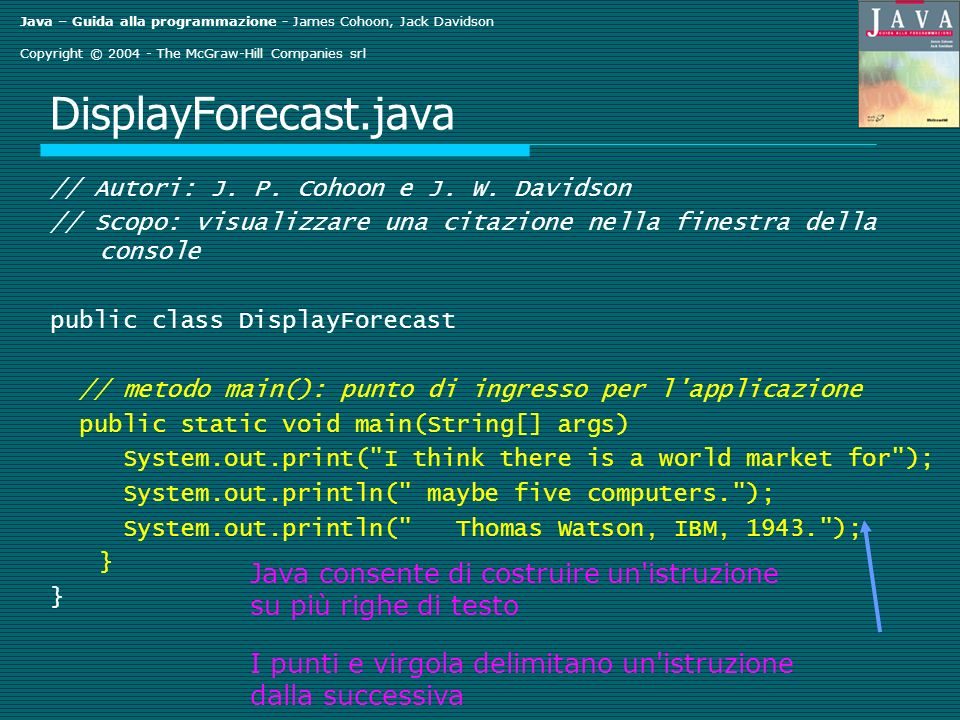 Java – Guida alla programmazione - James Cohoon, Jack Davidson Copyright © The McGraw-Hill Companies srl DisplayForecast.java // Autori: J.
