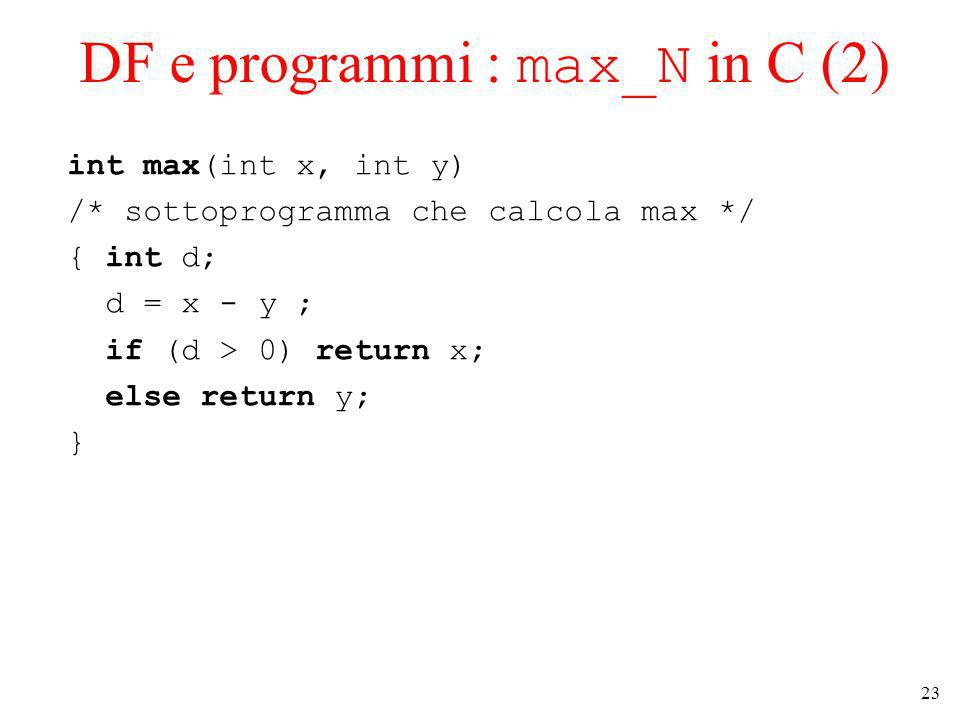 23 DF e programmi : max_N in C (2) int max(int x, int y) /* sottoprogramma che calcola max */ { int d; d = x - y ; if (d > 0) return x; else return y; }
