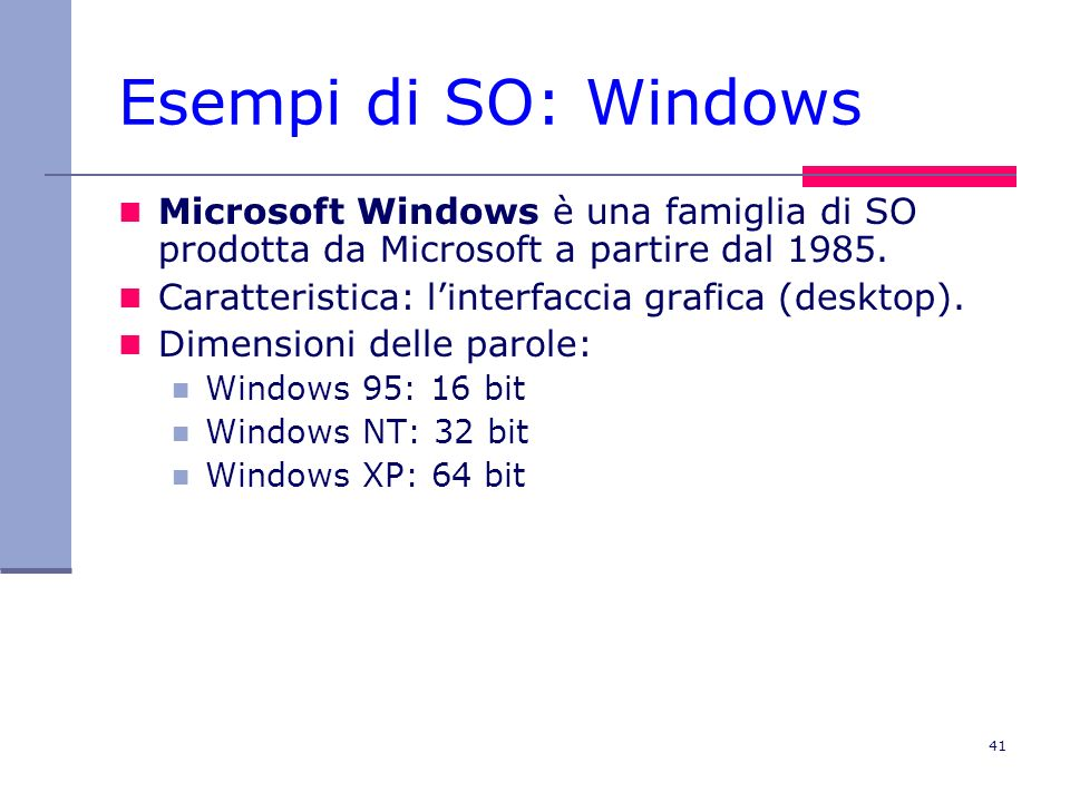 41 Esempi di SO: Windows Microsoft Windows è una famiglia di SO prodotta da Microsoft a partire dal 1985.