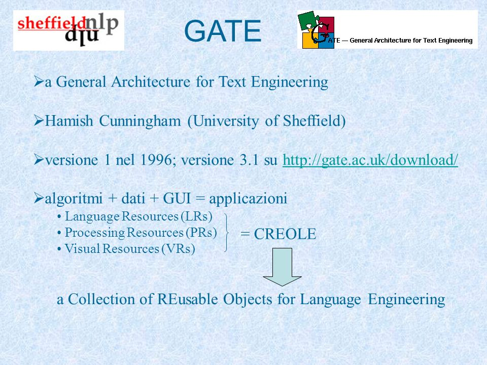 GATE a General Architecture for Text Engineering Hamish Cunningham (University of Sheffield) versione 1 nel 1996; versione 3.1 su http://gate.ac.uk/download/http://gate.ac.uk/download/ algoritmi + dati + GUI = applicazioni Language Resources (LRs) Processing Resources (PRs) Visual Resources (VRs) = CREOLE a Collection of REusable Objects for Language Engineering