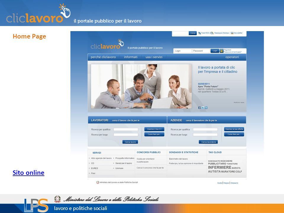 Home Page Sito online