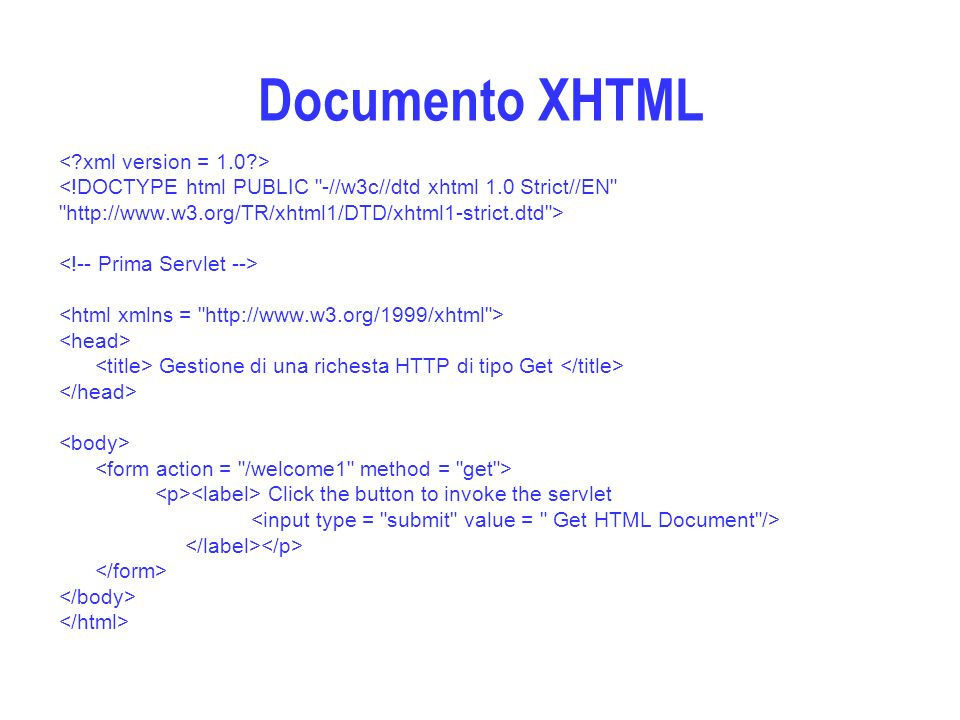 Documento XHTML <!DOCTYPE html PUBLIC -//w3c//dtd xhtml 1.0 Strict//EN   > Gestione di una richesta HTTP di tipo Get Click the button to invoke the servlet