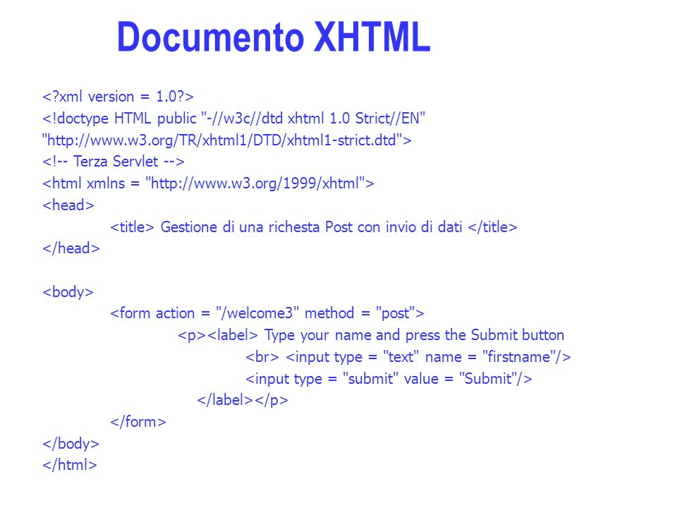 <!doctype HTML public -//w3c//dtd xhtml 1.0 Strict//EN   > Gestione di una richesta Post con invio di dati Type your name and press the Submit button Documento XHTML
