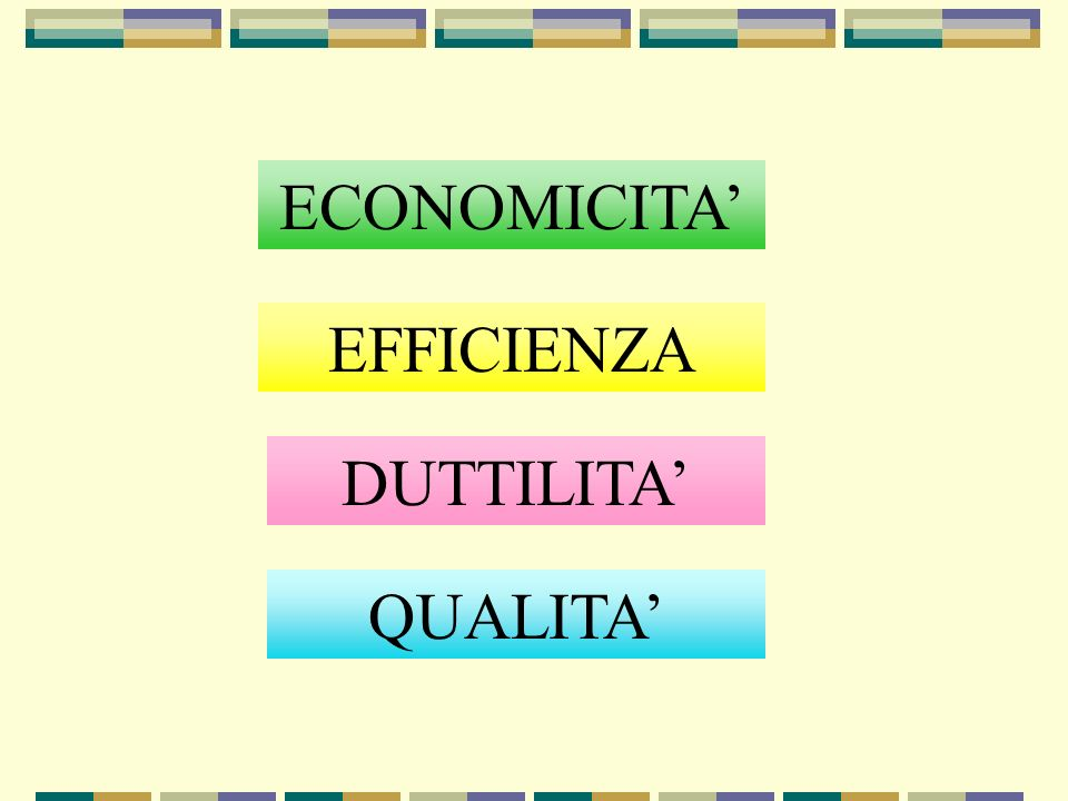 ECONOMICITA EFFICIENZA QUALITA DUTTILITA