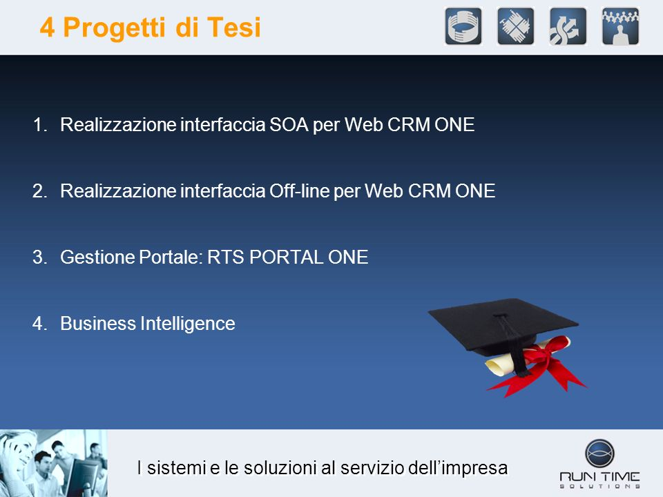 I sistemi e le soluzioni al servizio dellimpresa 4 Progetti di Tesi 1.Realizzazione interfaccia SOA per Web CRM ONE 2.Realizzazione interfaccia Off-line per Web CRM ONE 3.Gestione Portale: RTS PORTAL ONE 4.Business Intelligence