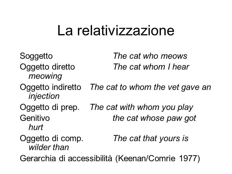 La relativizzazione SoggettoThe cat who meows Oggetto direttoThe cat whom I hear meowing Oggetto indirettoThe cat to whom the vet gave an injection Oggetto di prep.The cat with whom you play Genitivothe cat whose paw got hurt Oggetto di comp.The cat that yours is wilder than Gerarchia di accessibilità (Keenan/Comrie 1977)