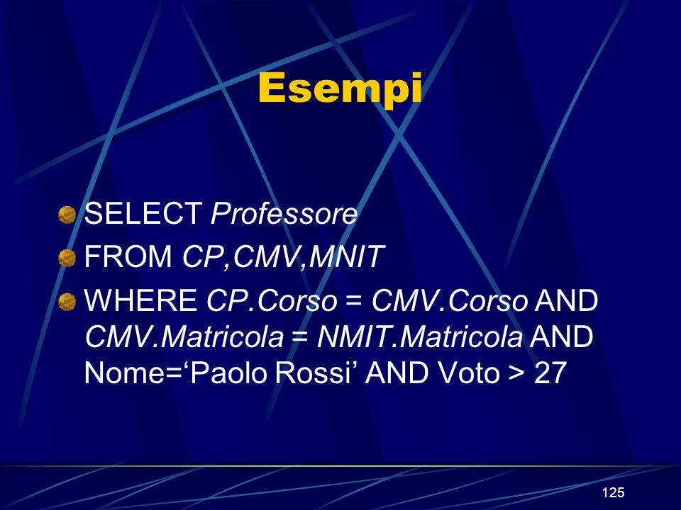 125 Esempi SELECT Professore FROM CP,CMV,MNIT WHERE CP.Corso = CMV.Corso AND CMV.Matricola = NMIT.Matricola AND Nome=Paolo Rossi AND Voto > 27