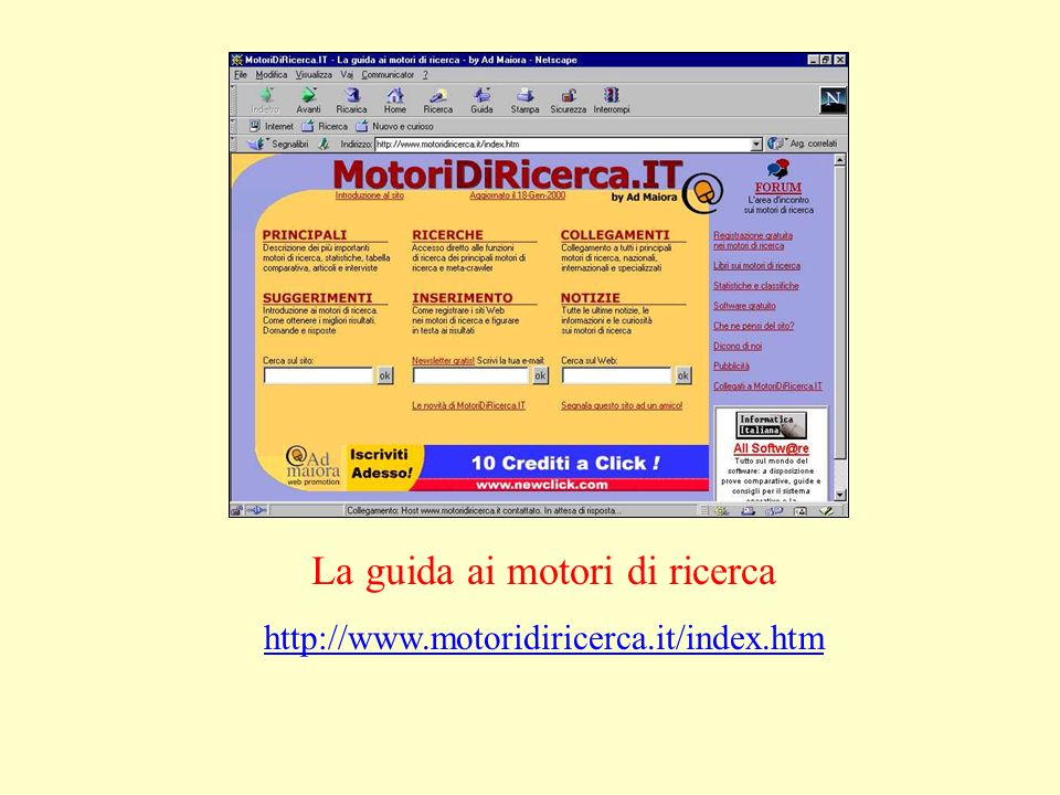 La guida ai motori di ricerca http://www.motoridiricerca.it/index.htm
