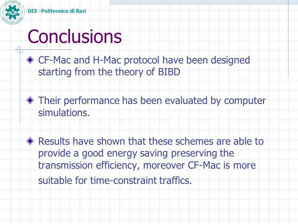 DEE -Politecnico di Bari Conclusions CF-Mac and H-Mac protocol have been designed starting from the theory of BIBD Their performance has been evaluated by computer simulations.