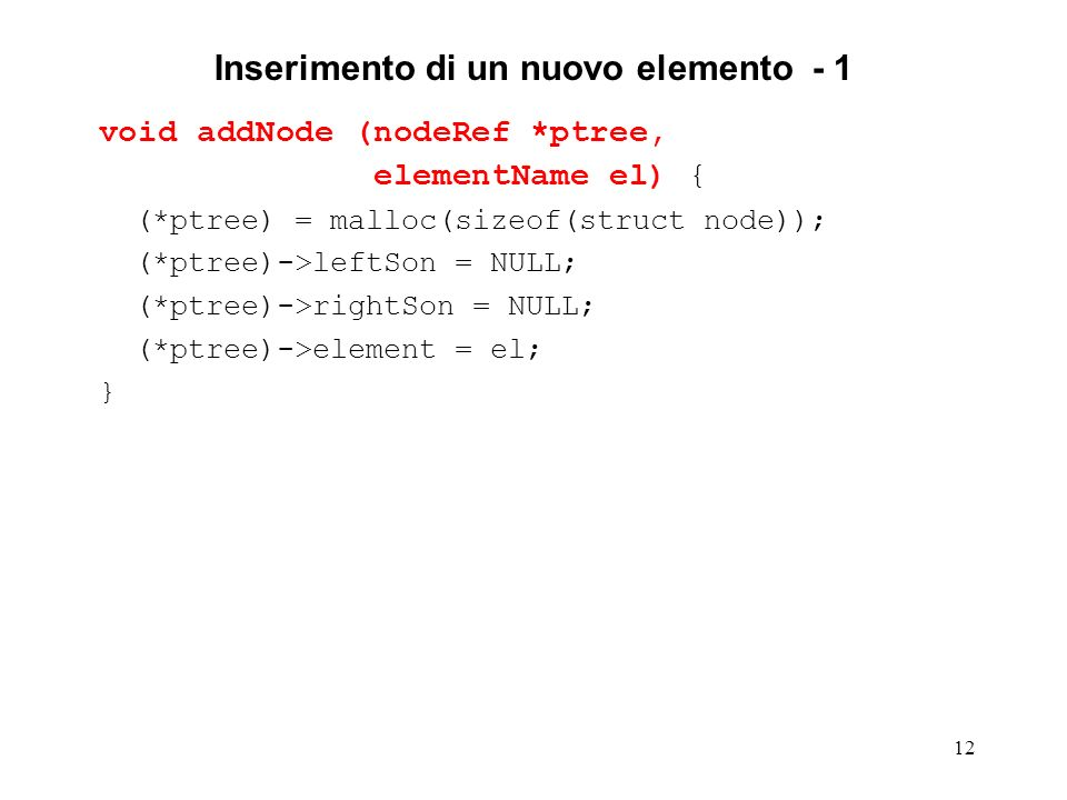 12 Inserimento di un nuovo elemento - 1 void addNode (nodeRef *ptree, elementName el) { (*ptree) = malloc(sizeof(struct node)); (*ptree)->leftSon = NULL; (*ptree)->rightSon = NULL; (*ptree)->element = el; }