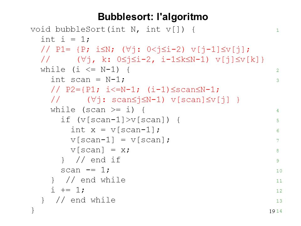 19 void bubbleSort(int N, int v[]) { 1 int i = 1; // P1= {P; i N; ( j: 0<j i-2) v[j-1] v[j]; // ( j, k: 0 j i-2, i-1 k N-1) v[j] v[k]} while (i <= N-1) { 2 int scan = N-1; 3 // P2={P1; i<=N-1; (i-1) scan N-1; // ( j: scan j N-1) v[scan] v[j] } while (scan >= i) { 4 if (v[scan-1]>v[scan]) { 5 int x = v[scan-1]; 6 v[scan-1] = v[scan]; 7 v[scan] = x; 8 } // end if 9 scan -= 1; 10 } // end while 11 i += 1; 12 } // end while 13 } 14 Bubblesort: l algoritmo