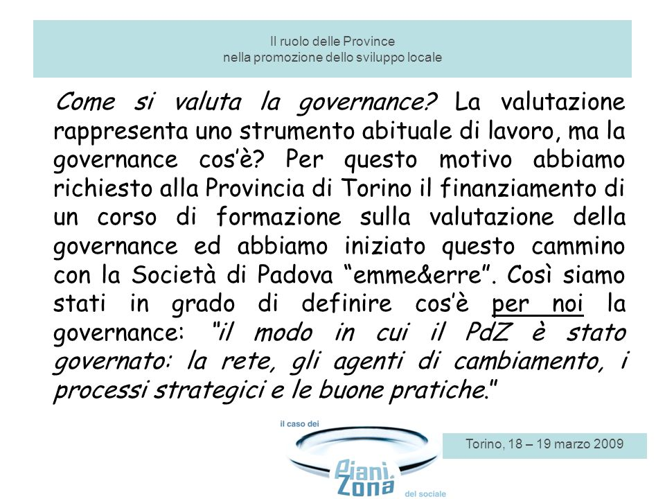 Come si valuta la governance.