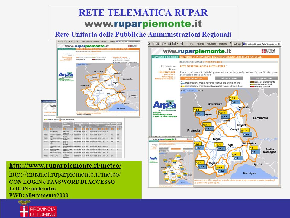 RETE TELEMATICA RUPAR www.ruparpiemonte.it Rete Unitaria delle Pubbliche Amministrazioni Regionali http://www.ruparpiemonte.it/meteo/ http://intranet.ruparpiemonte.it/meteo/ CON LOGIN e PASSWORD DI ACCESSO LOGIN: meteoidro PWD: allertamento2000