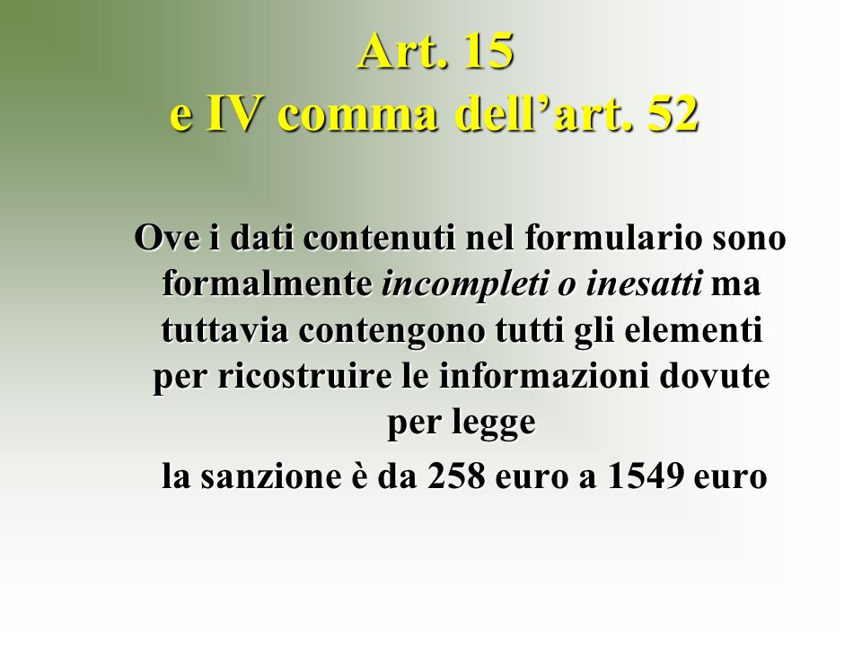 Art. 15 e IV comma dellart.