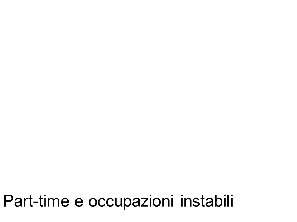 Part-time e occupazioni instabili